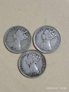 1896年2只一毫港幣, 1894年1只共收230元 包真 銀製品