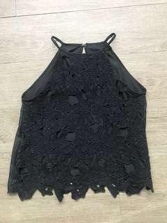 Black Halter Floral Top