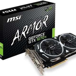 MSI GeForce GTX 1070 Ti ARMOR 8GB Graphics Card - SKU: MSI GEFORCE GTX 1070 TI ARMOR 8GB