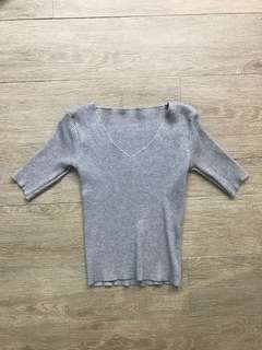 Grey Fitted Top w/ V-neck cut