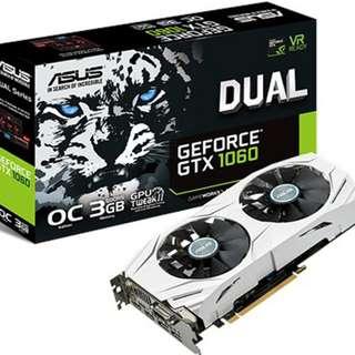 Asus GTX 1060 Dual OC 3GB Graphics Card - SKU: DUAL-GTX1060-O3G