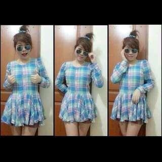 Korean blouse (checkered, Sky blue)