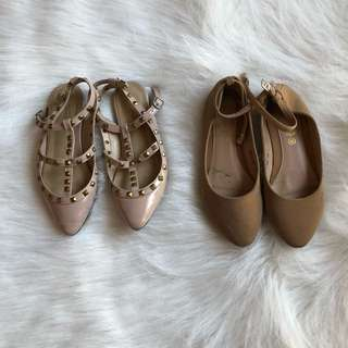2 pairs nude flats