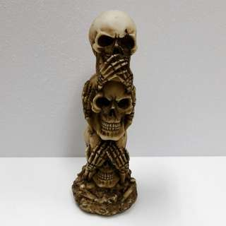 "Collectible ""See No Evil, Hear No Evil, Speak No Evil"" Triple Stacked Skull Novelty Display"