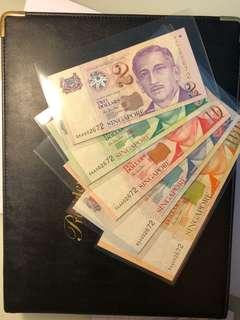 Singapore Portraits identical Number set $2-$100 UNC with Album