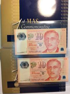 1 pair of Singapore commemorative polymer $10 MAS 008411-12 running number UNC with folder