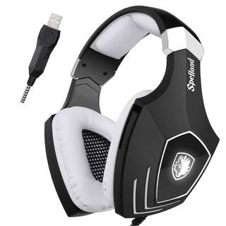 SADES A60 Gaming Headset Over Ear 7.1 Stereo Surround Sound Heaphones With Microphone Noise Isolating Volume Control LED Light For PC & MAC (Black and White)