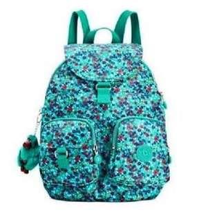 Kipling Firefly Flower Garden Jade Backpack Purse Bag