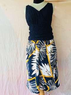 Dress brokat flower tebal