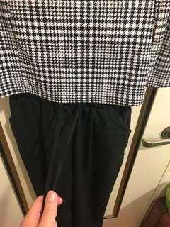 🚚 格紋綁帶質感寬褲