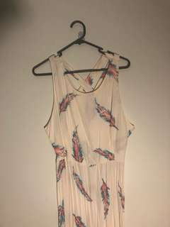 Forever 21 bohemian feather maxi dress size large