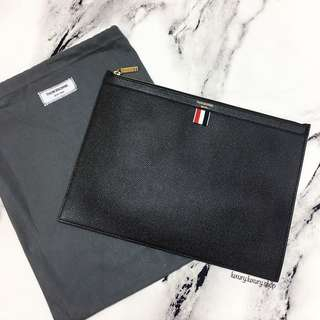 BRAND NEW THOM BROWNE Medium Zipper Document Clutch