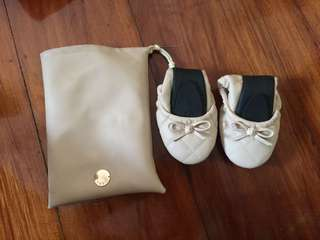 Rubi Foldable Nude/Beige Quilted Ballet Flats Size 39