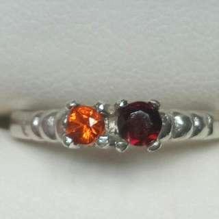 Orange Garnet & Red Spinel. 925 Silver Ring (16mm)