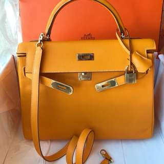 現貨 Hermes Kelly 32 9V太陽黃 Epsom 外縫