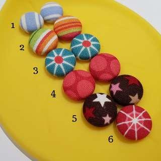 Handmade Fabric Button Clip-on Earrings