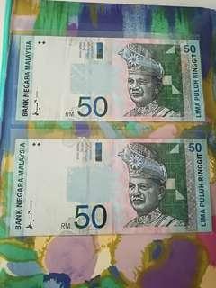 MALAYSIA RM50 8th Series x 2 pcs