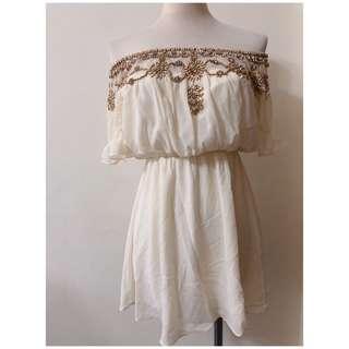 ❀☪︎ 韓  女神風  鑽珠一字領短洋裝