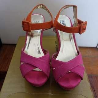 Sole Desire Pink and Orange Platform Wedge Shoes