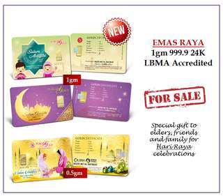 *EMAS RAYA*  0.5gm and 1gm Bar Gold 999.9 24K LBMA Accredited.