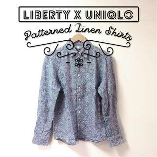 Liberty London X Uniqlo 純亞麻 印花 襯衫 長袖 碎花 變形蟲 花紋 聯名 英倫 皇室 古著
