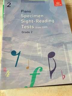Piano specimen sight reading tests grade 2