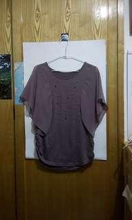 深芋色雪紡袖 ,前面古銅色珠珠裝飾