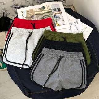 🌞純棉運動短褲 多色多尺寸可選 跑步熱褲 鬆緊腰 線條 大尺碼 大碼 瑜伽短褲 柔軟棉質 綁帶 運動彈性 2XL XL