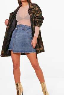 Double waistband denim skirt