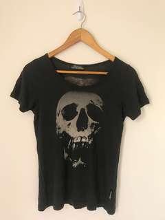 ❤️ 日本製🇯🇵 HYSTERIC GLAMOUR black skull 💀 tee 黑色俘虜圖案衫
