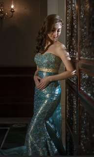 Pre-loved turquoise embroidered dinner gown