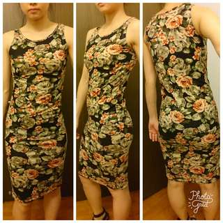 Floral Tapestry Print Sleeveless Midi Bodycon Dress ✔