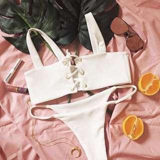 White lace front bikini cheeky cut