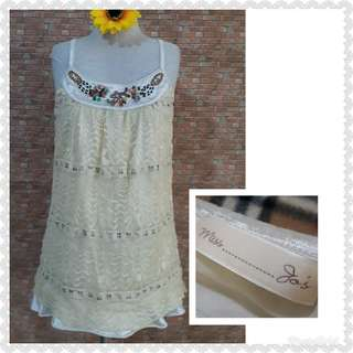 BEADED LACED&SILK BLOUSE S/M