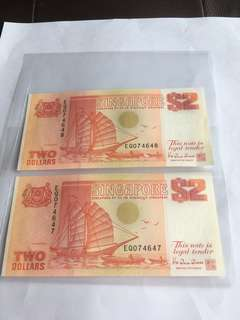 Spore Ship Series Orange $2 notes with 2 Run