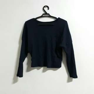 Navy Blue Crop Ribbed Sweater