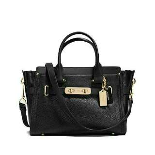 COACH SWAGGER 27   BLACK & BLUE COLOR