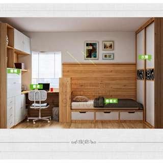 森林系房間格調的地台床利用