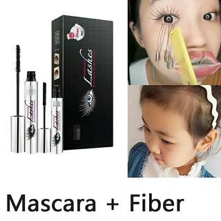 Magic Black Silk Mascara Makeup Set DiDiCat Eyelash Extension Lengthening Volume 4D Fiber Mascara Waterproof Cosmetics 2pcs/lot