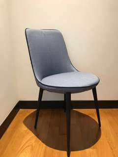 Dining Chair - Blue Fabric and Steel Legs