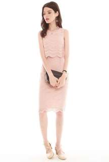 Acw Double Tier Scallop Lace Dress in Dusty Pink