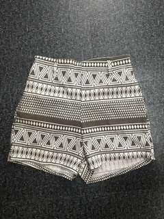 Aztec Print High Waist Shorts