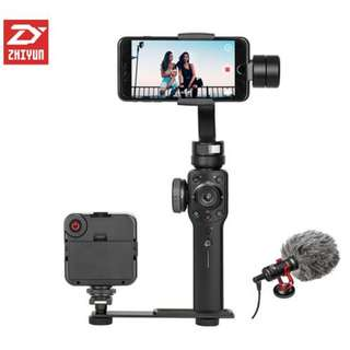 Zhiyun Smooth 4 Handheld Stabilizer + Ulanzi LED Light + Boya MM1 Directional Microphone