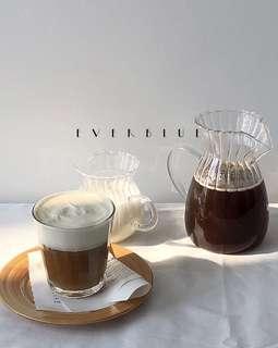 🚚 everblue手衝美式咖啡壺 玻璃冷水壺 小奶壺玻璃奶盅果汁罐 預購