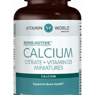 Nutritional Supplements VITAMIN WORLD Calcium Citrate+ Vitamin D(200caps)檸檬酸鈣+D3