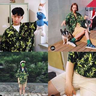 韓國短袖襯衫 大麻綠420