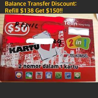 New Indonesia Hong Kong Phone Card Internet Facebook Connection Refill Recharge Balance Transfer Kartu AS 2in1 Card Buy $138 Get $150 Discount
