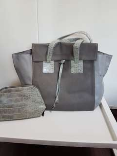 Grey colour shoulder bag with pouch