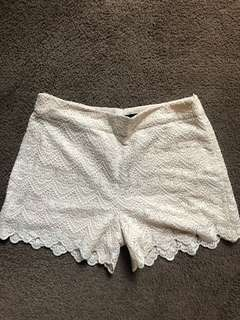 New without tags, Sportsgirl lace shorts, size small, cream