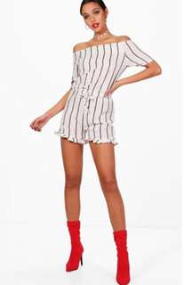 Boohoo Striped off shoulder play suit